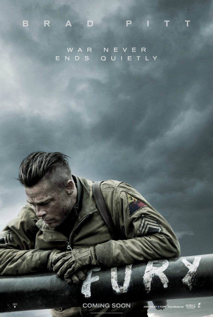Official Fury Moive Poster featuring Brad Pitt