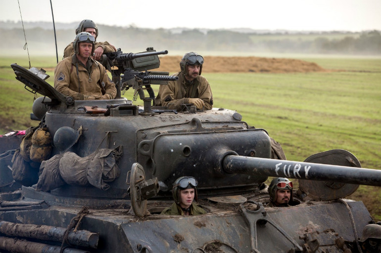 Fury movie still pictures a tank rolling with Brad Pitt