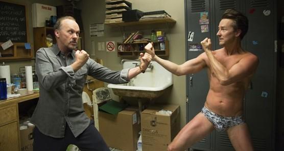 "Michael Keaton as ""Riggan"" and Edward Norton as ""Mark"" in BIRDMAN."